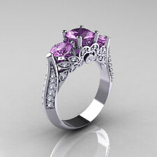 Sz6/7/8/9 Charming Purple Amethyst Women White Gold Filled Engagement Ring Gift