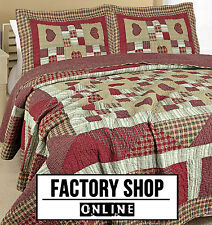 RED GOLD  RUST BURGANDY WINE  AMISH BEDSPREAD QUILTED THROW COTTON TRADITIONAL