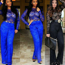 Sexy Winter Womens Bodycon Cocktail Party Blue Black Lace Jumpsuits Long Pants
