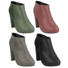 LADIES ANNE MICHELLE POINTED TOE BLOCK HEEL ZIP UP ANKLE BOOTS F50006