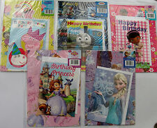BIRTHDAY CARD/WRAPPING PAPER/GIFT TAG FROZEN,PEPPA,THOMAS MC SCUFFIN, PRINCESS