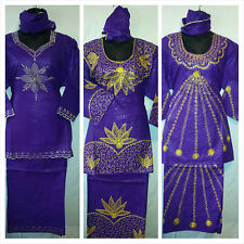 Women African Skirt Suit Attire Outfit Boho kaftan style Purple Gold Free Size