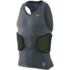 new mens nike pro combat deflex padded basketball compression shirt/tank gry grn