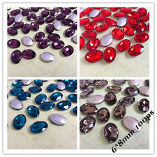 6*8mm Oval Point back Rhinestone Crystal Glass Chatons Strass Silver 100ps