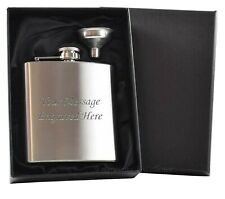 Personalised Engraved Hip Flask 6oz Free Funnel Satin Lined Gift Box For Men