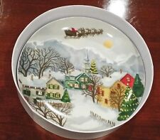 POTTERY BARN ~ WINTER VILLAGE PLATES ~ REINDEER/TREE/ VILLAGE PLATE ~ SOLD OUT
