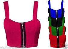 WOMENS BOOB TUBE BRA ZIP LADIES BANDEAU STRAP STRETCH VEST CROP TOP SIZE 8-14