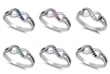 Sterling Silver 925 INFINITY LOVE KNOT DESIGN CZ PROMISE RINGS 7MM SIZES 4-10