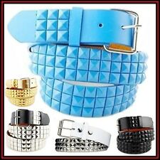 Light Blue Pyramid Studded Leather Belt Snap-on Removable Buckle Best eBay Deals