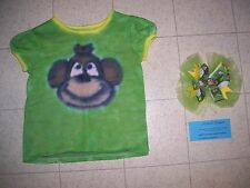 Handmade Tie Dye GIRLS shirt - MONKEY - size 3T - with hair ribbon barrette clip