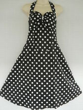 Plus 50s Rockabilly Black White Polka Dot Halter Swing Dress 18 20 22 24 26