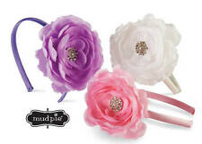Mud Pie Baby Buds Jeweled Flower Hard Headband  Purple White Pink - DISCONTINUED