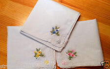 LOT 6/12 LADIES Embroidered HANDKERCHIEFS PERFECT COTTON VINTAGE INSPIRED HANKY
