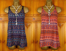 NEW FAT FACE LADIES NAVY BLUE TERRACOTTA PAISLEY COTTON SUMMER TUNIC CAMI TOP