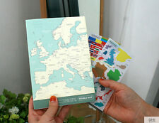 World Map Line Note - Blank Line School Note + Decorable World Map Page - DSKC