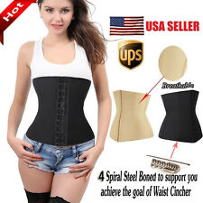 4 Spiral Steel Boned Corset Waist Training Underbust Girdle Waspie Black R31