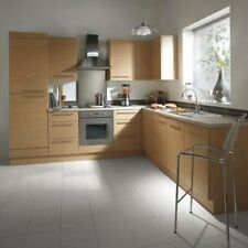 KITCHEN CABINETS BASE AND WALL UNITS, WITH DOORS AND HANDLES, NATURAL OAK EFFEC