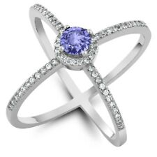 1.28 Ct Round Blue Tanzanite 925 Sterling Silver Ring