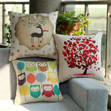 45cm*45cm Cotton Linen Flax Cushion Covers Pillow Case For Sofa Bed Owl & Deer