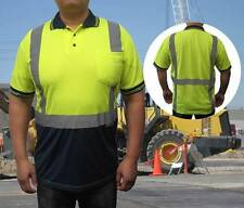 NEW HI-VIS ANSI/ISEA Class 2 Safety Reflective Quick-Dry Polo Shirts