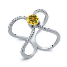 1.28 Ct Round Yellow Citrine 925 Sterling Silver Ring