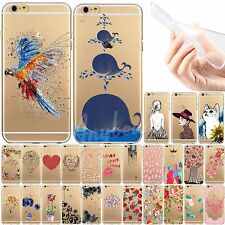 For iPhone 4 4S 5 5S 6 6Plus 0.3mm Thin TPU Soft Painted Pattern Skin Case Cover