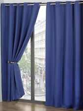 Blue Blackout Thermal Self Lined Eyelet Ring Top Ready Made Curtains