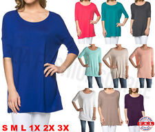 USA Women Piko Style Dolman Tunic Top Boat Neck Half Sleeve Shirt Loose S M L