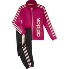 ADIDAS YG S LIN TS CH Training Tracksuit Girls Black Pink Logo ALL SIZES