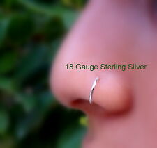 Nose Ring Hoop - Helix - Tragus - Cartilage Earring- Sterling Silver 18g-16g 7mm