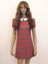 New womens red tartan check white collar shift dress size 8-16