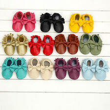 Infant Toddler Boy Girls Soft Soled Leather Moccasins Bowknot Shoes 3-24 Months