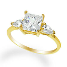 Ladies 10K Yellow Gold Solid Solitaire Ring with Accents CZ Clear Stone