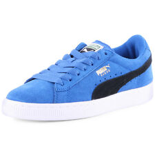 Puma Suede JR  Kids Suede Blue Black Trainers New Shoes All Sizes