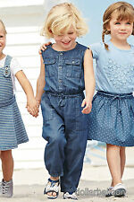 NEXT GIRLS 3-6 18-24 BLUE DENIM SLEEVELESS ROMPER/PLAYSUIT OUTFIT