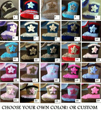 U CHOOSE COLOR! COWBOY COWGIRL boots CROCHET Newborn 0-3 mo BABY photo prop USA!