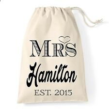 Personalised hen party wedding day morning  bride to be, wife cotton gift bag