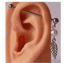 14g FAUX PEARL & LEAF INDUSTRIAL BARBELL SCAFFOLD DANGLE 3 SIZES 35mm 38mm 40mm