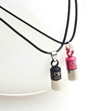 Unisex Stainless Steel Love Purple Pill Capsule Tablet Medic Pendant Necklace