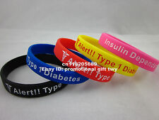 1x Medical Alert Type 1 Diabetes Insulin Dependent Silicone Wristband Bracelet