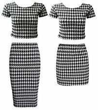 NEW LADIES BLACK WHITE DOGTOOTH TWO PIECE MIDI MINI CAP CROP TOP SKIRT SIZE 6-12