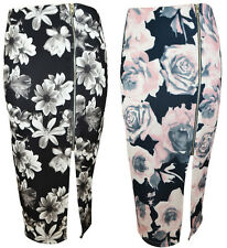 NEW WOMENS LADIES SMART FLORAL WAFFLE FABRIC SIDE ZIP PENCIL SKIRT SIZE 8-14