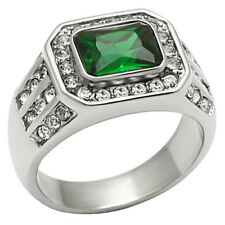 Halo Emerald Cut Green Emerald Simulated Stainless Steel Ring Size 8-13