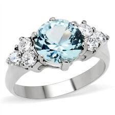 Women's Stainless Steel Round Cut Blue Topaz Simulated Ring Band Size 5-10