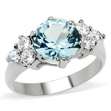 Women's Stainless Steel Round Cut London Blue Light Topaz CZ Ring Band