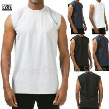 PROCLUB HEAVY WEIGHT SOLID PLAIN COTTON SLEEVELESS MUSCLE TEE SHIRTS SIZE M- 7XL
