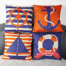 Sailing Boat Cushion Cover Cotton Linen Sofa Throw Pillow Case Car Home Decor