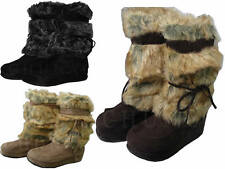 LADIES BLACK/BROWN/BEIGE WINTER FUR TRIM WEDGE SNOW MID CALF YETI BOOT WOMEN 3-8