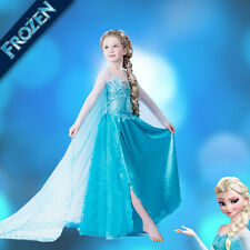 2015 Hot Girls Snow Queen Frozen Princess Elsa Fancy Dress Costume Cosplay Party