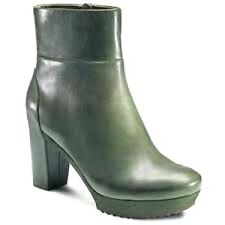 Ecco Parnu Deep Forest Green Leather Fashion Ankle Bootie Boots